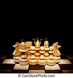 Reliable protection - Chessmen on a chess board A dark...