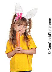 Little girl with bunny ears