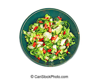 Fresh spring salad in a bowl, isolated on a white background