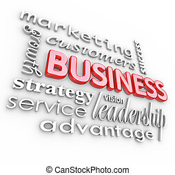 Business Concepts Principles 3D Words Background - The word...