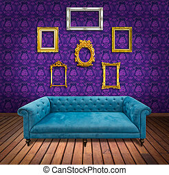 Sofa and frame in purple wallpaper room
