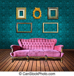 vintage luxury armchair and frame in room - vintage luxury...