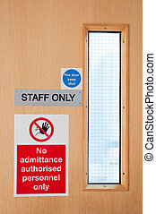 Staff only signs at laboratory - staff only door signs...
