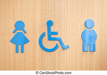 Toilets sign - blue toilets WC sign for men, wheelchair and...