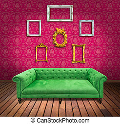 Sofa and frame in pink wallpaper room