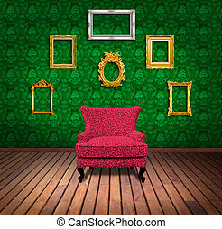 Sofa and frame in green wallpaper room
