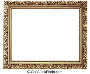 Gold frame on white background - Gold frame isolated on...
