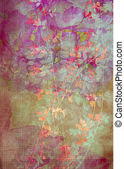 Grunge, decorative background with leaves