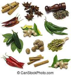 Spices sampler - From top left: Cinnamon, star anise,...
