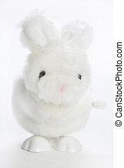 Wind up Bunny - A white wind up fluffy bunny toy.