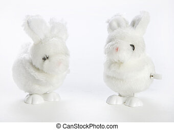 Wind up Bunnies - Two white wind up fluffy bunny toys