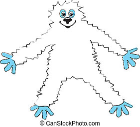 Cartoon Yeti - simple drawing of a happy cartoon Yeti