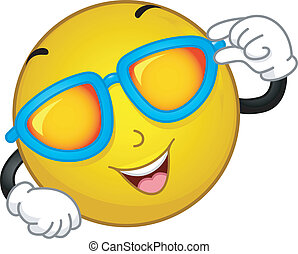 Sunglasses Smiley - Illustration of a Smiley Wearing...