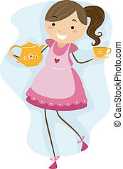 Tea Party - Illustration of a Girl Making Preparations for a...