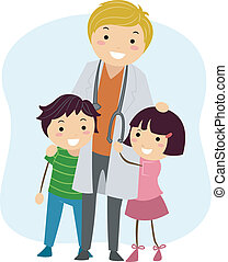 Pediatrician - Illustration of Children Clinging on to a...