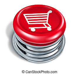 Shopping Button - Shopping button and online shop icon with...