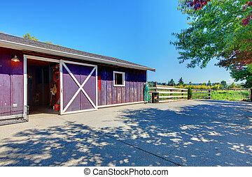 Horse farm shed in purple on American farm. - American farm...