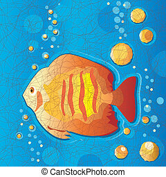 Tropical Fish, Batik Fabric Style - Tropical goldfish...