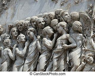 Orvieto - Duomo facade. The fourth pillar with the Last...
