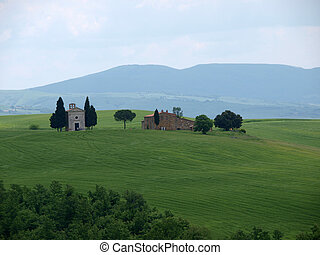 The lonely church Capella de Vitaleta near Pienza, Tuscany