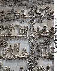 Orvieto - Duomo facade. The first pillar: scenes from...