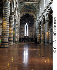 Interior of Cathedral (Duomo). Orvieto, Umbria