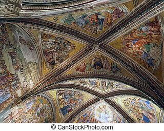 Orvieto, San, Duomo, -, nova, interior, brizio, o, cappella...
