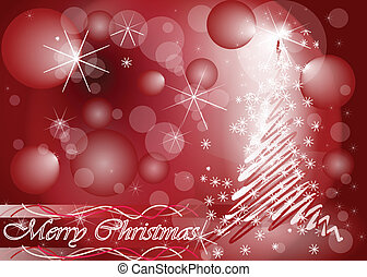 Christmas tree card in red colour