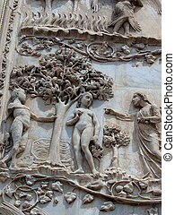 Orvieto - Duomo facade. The first pillar: scenes from...