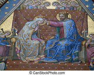Coronation of the Virgin. One of the many mosaics on the...