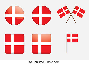 badges with Danish flag