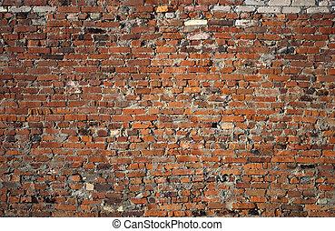 Old brick wall - Closeup of weathered red brick wall...