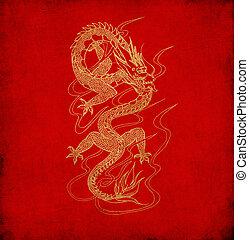 altes, chinesisches, feuerdrachen, Papier, hintergrund, rotes