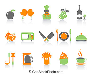 simple color kitchen icons set