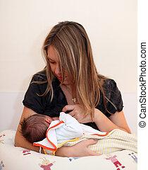 recem nascido, bebê, peito, alimentação