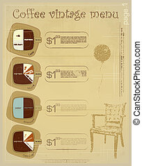 Template of menu for coffee drinks - latte, mocha,...