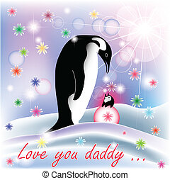 Dad and baby girl penguin with polar background and spring...