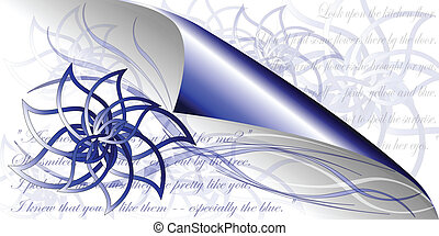 Blue flowers poetry - Abstracy blue flower with book page...