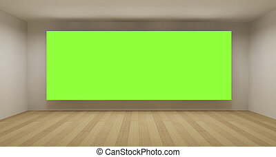 Empty room with green chroma key backdrop, 3d art concept,...