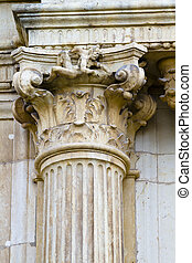 Corinthian column capital, facade of the University of Alcala de Henares, Madrid, Spain