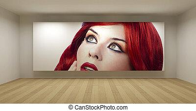 藝術, 房間, 概念, 年輕, 插圖, 頭髮, 空, 圖片, 畫廊, 紅色,  3D