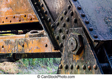 Grungy Railroad Trestle Detail - Grungy, rusted iron...