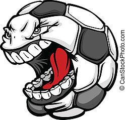 futebol, bola, gritando, rosto, caricatura, vetorial, imagem
