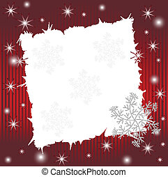 Red striped wishing card with snowflakes