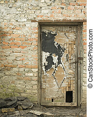 old door on a brick wall background