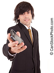 Business man offering cellphone, isolated over white