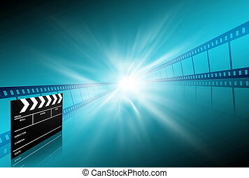 clap board ant film strip on blue background - clap board...