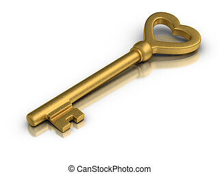 Heart Shaped Skeleton Key - Beautiful golden skeleton key on...