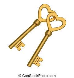Love Key - Beautiful heart shaped golden skeleton key.