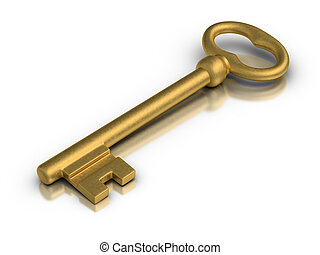 Golden Skeleton Key - Beautiful golden skeleton key on white...